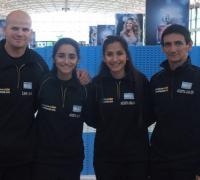 Zaín, Milagros, Aylen y Carlos Acosta en Ezeiza.