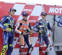 Márquez, Rossi y Lorenzo, prometen un apasionante carrera.