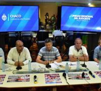 Autoridades provinciales en la presentación  del boxeo mundialista en Villa Angela
