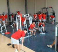 Fuerte trabajo enel gimnasio del plantel de Sarmiento