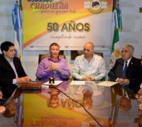 Autoridades de Lotería Chaqueña en las instalaciones del Hípico Los Grandes Amigos