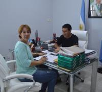 Patricia Lezcano en la firma de convenio con Argüello.