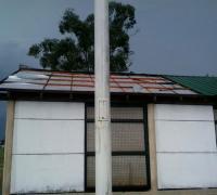Voladura de los techos entre otros daños en el predio de la Liga e Veteranos en el Aeropuerto