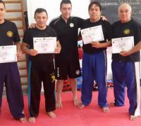 Luis Emmanuel Borini, Adrián Ojeda, Juan Carlos Sánchez, Luis María Borini con los certificados entregados por el instructor Diego Manso.