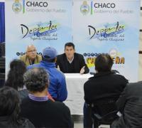 Miguel Solís y Juan Carlos Arguello, en la reunión con dirigentes de Primera B