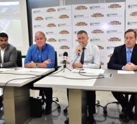 Los presidentes de Lotería Chaqueña, Oscar Brugnoli, del Instituto de Cultura, Marcelo Gustin, de Turismo, Mauro Flores y de Deportes, Jorge González.