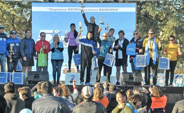 El podio de los ganadores en la Maratón Convivencia.